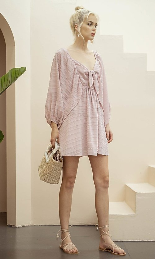 Image of draped sleeve short a-line casual party dress. Style: LAS-ILL-21-IM6051 Detail Image 6