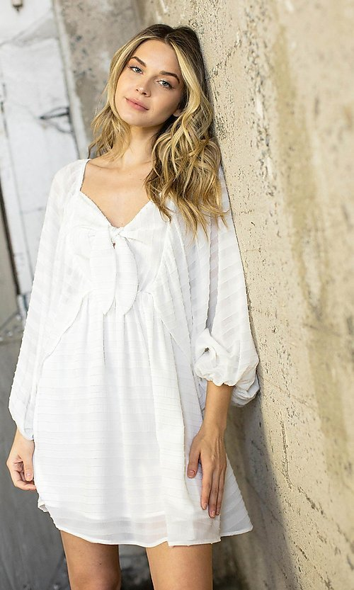 Image of draped sleeve short a-line casual party dress. Style: LAS-ILL-21-IM6051 Detail Image 1