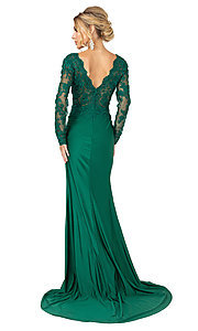 Image of long sleeve hunter green formal prom dress with train. Style: DQ-21-4124 Back Image