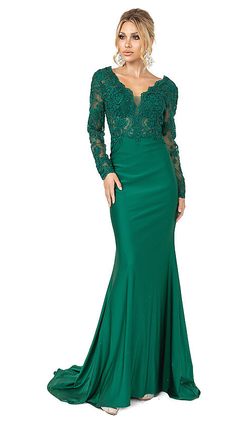 Image of long sleeve hunter green formal prom dress with train. Style: DQ-21-4124 Front Image