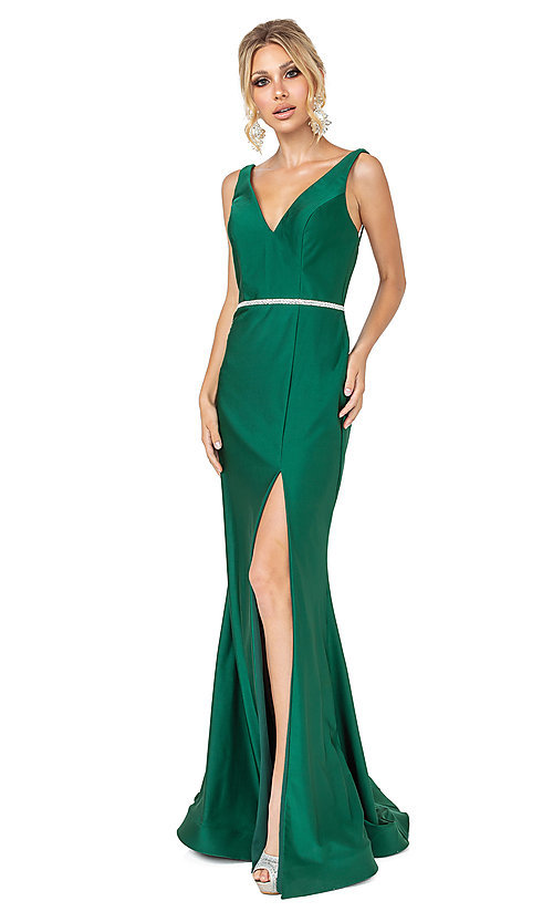 Image of beaded-waist dark green simple long formal dress. Style: DQ-21-4125 Front Image