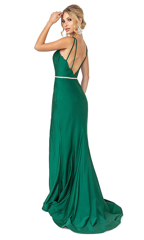 Image of beaded-waist dark green simple long formal dress. Style: DQ-21-4125 Back Image