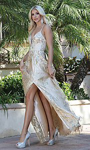 Image of long corset-back prom dress with gold glitter. Style: DQ-21-4130 Detail Image 1