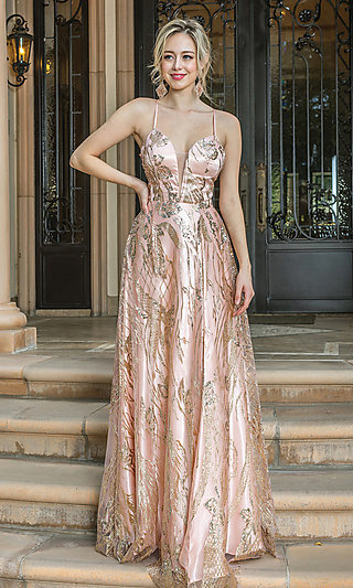 Long Corset-Back Prom Dress with Gold Glitter