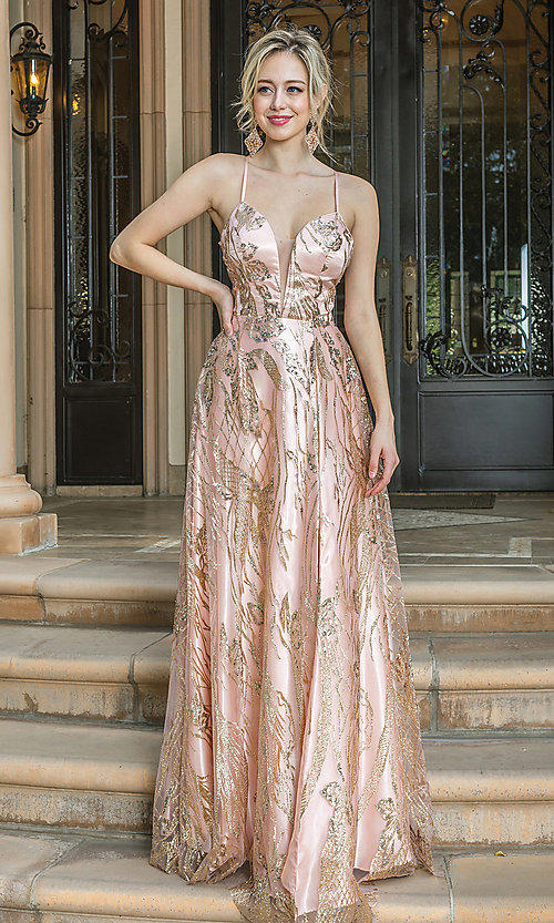 Image of long corset-back prom dress with gold glitter. Style: DQ-21-4130 Front Image