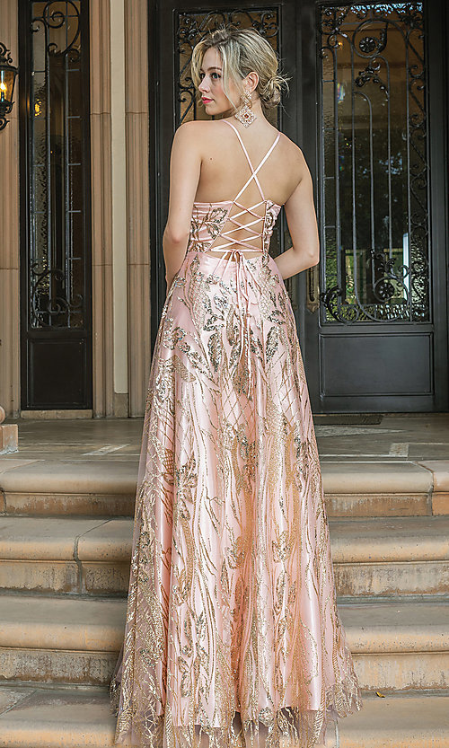 Image of long corset-back prom dress with gold glitter. Style: DQ-21-4130 Back Image
