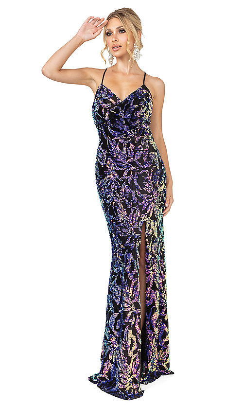 Image of long black prom dress with multi-color sequins. Style: DQ-21-4135 Front Image