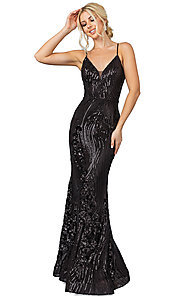Image of v-neck long sequin formal prom dress. Style: DQ-21-4144 Front Image