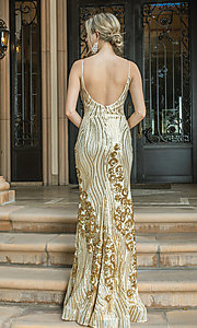 Image of v-neck long sequin formal prom dress. Style: DQ-21-4144 Detail Image 4