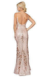 Image of v-neck long sequin formal prom dress. Style: DQ-21-4144 Detail Image 2