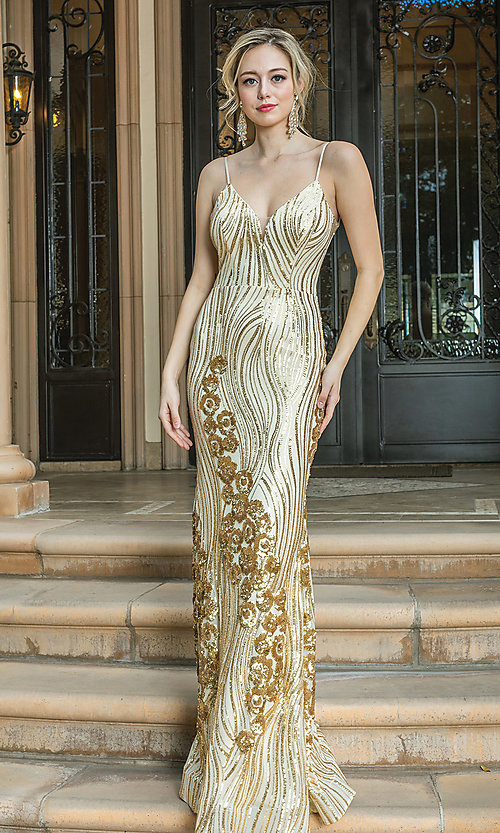 Image of v-neck long sequin formal prom dress. Style: DQ-21-4144 Detail Image 3