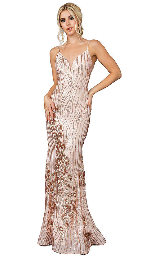 Image of v-neck long sequin formal prom dress. Style: DQ-21-4144 Detail Image 1