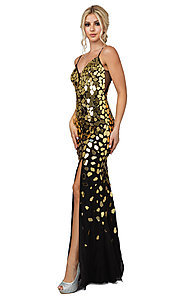 Image of corset-back sequin long black formal dress. Style: DQ-21-4152 Front Image