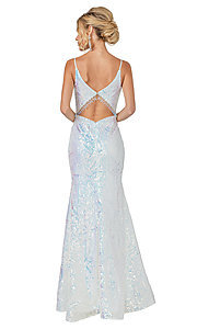 Image of formal off-white sequin long mermaid prom dress. Style: DQ-21-4158 Back Image