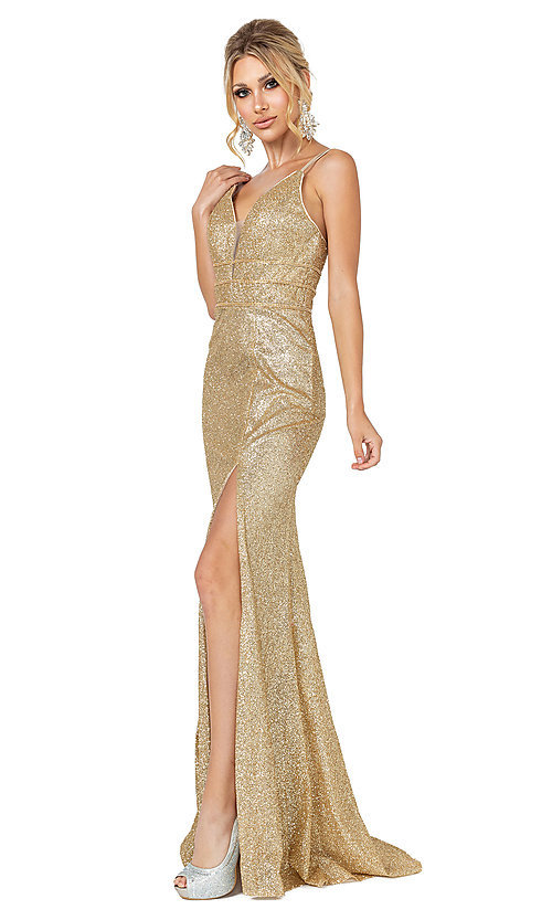 Image of gold glitter long v-neck formal prom dress. Style: DQ-21-4169 Front Image