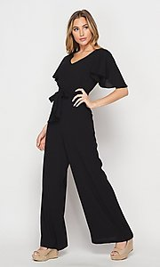 Image of short-sleeve casual loose-fit party jumpsuit. Style: LAS-BIG-21-HR1110 Detail Image 3