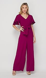 Image of short-sleeve casual loose-fit party jumpsuit. Style: LAS-BIG-21-HR1110 Detail Image 1