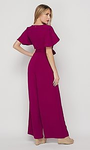 Image of short-sleeve casual loose-fit party jumpsuit. Style: LAS-BIG-21-HR1110 Back Image