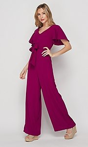 Image of short-sleeve casual loose-fit party jumpsuit. Style: LAS-BIG-21-HR1110 Detail Image 2