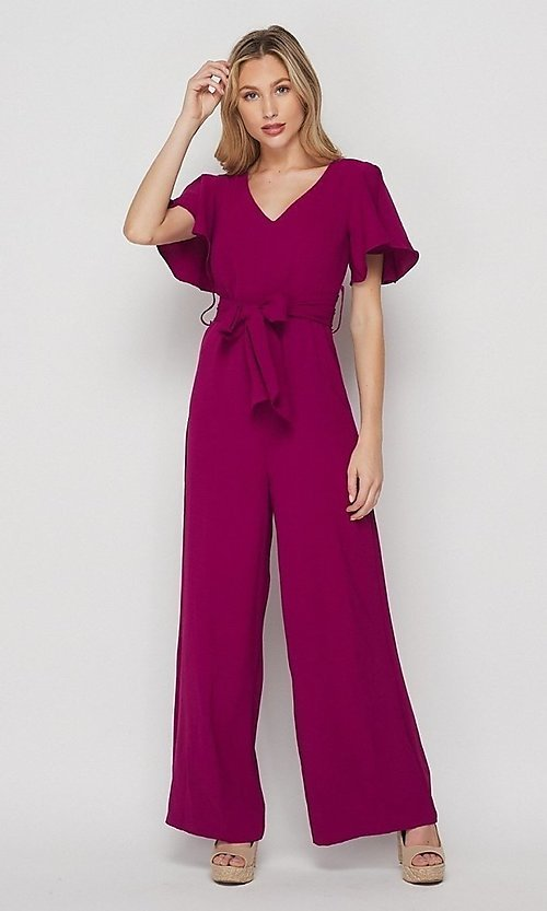 Image of short-sleeve casual loose-fit party jumpsuit. Style: LAS-BIG-21-HR1110 Front Image
