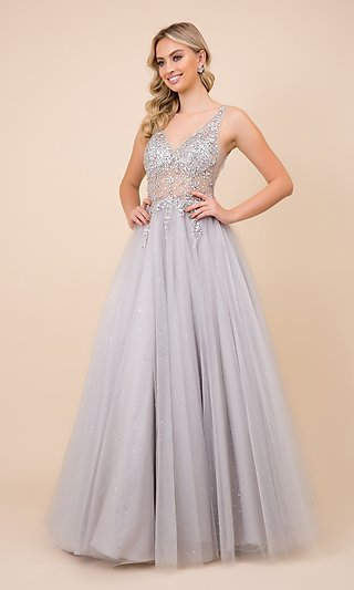 Beaded Sheer-Bodice Silver Long Ball Gown for Prom
