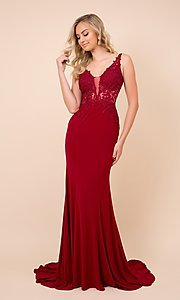 Image of embroidered sheer-bodice long formal prom gown. Style: NA-21-J326 Detail Image 1