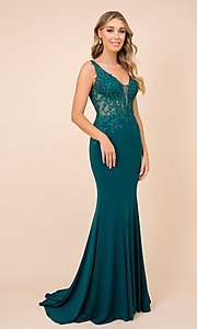 Image of embroidered sheer-bodice long formal prom gown. Style: NA-21-J326 Front Image