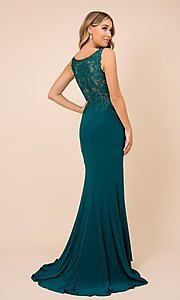 Image of embroidered sheer-bodice long formal prom gown. Style: NA-21-J326 Back Image