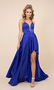 Image of v-neck formal long prom dress with high-low skirt. Style: NA-21-M333 Front Image
