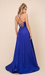 Image of v-neck formal long prom dress with high-low skirt. Style: NA-21-M333 Back Image