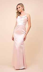 Image of classic cowl-neck long satin formal dress. Style: NA-21-C302 Front Image