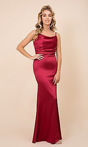 Image of classic cowl-neck long satin formal dress. Style: NA-21-C302 Detail Image 2