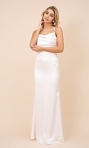 Image of classic cowl-neck long satin formal dress. Style: NA-21-C302 Detail Image 3