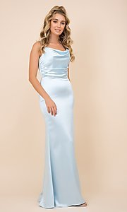 Image of classic cowl-neck long satin formal dress. Style: NA-21-C302 Detail Image 1