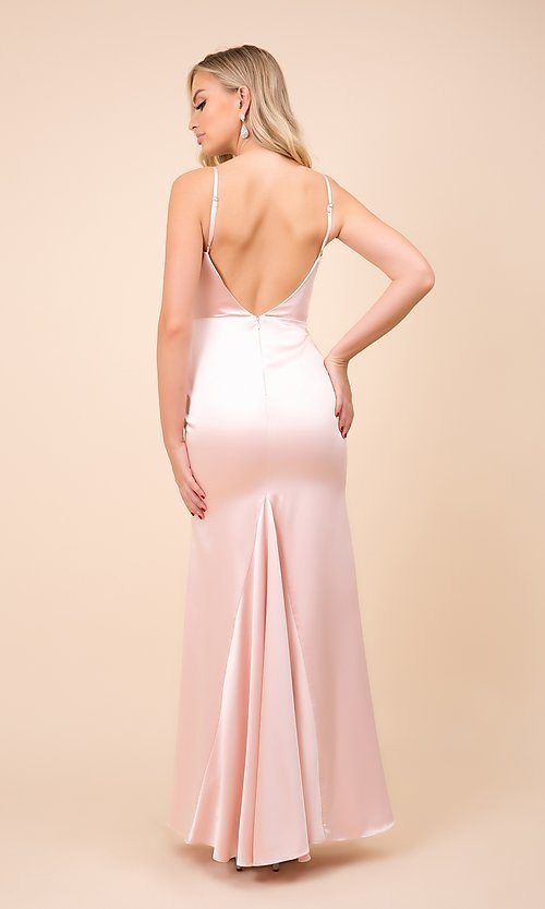 Image of classic cowl-neck long satin formal dress. Style: NA-21-C302 Back Image