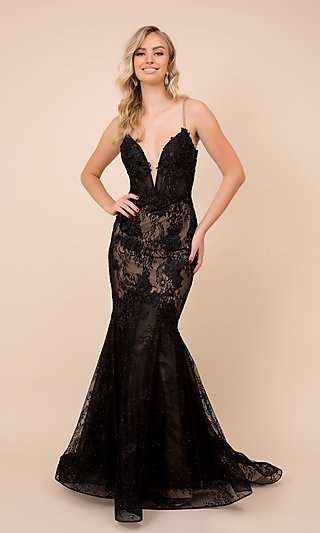Plunging V-Neck Black Lace Formal Mermaid Gown