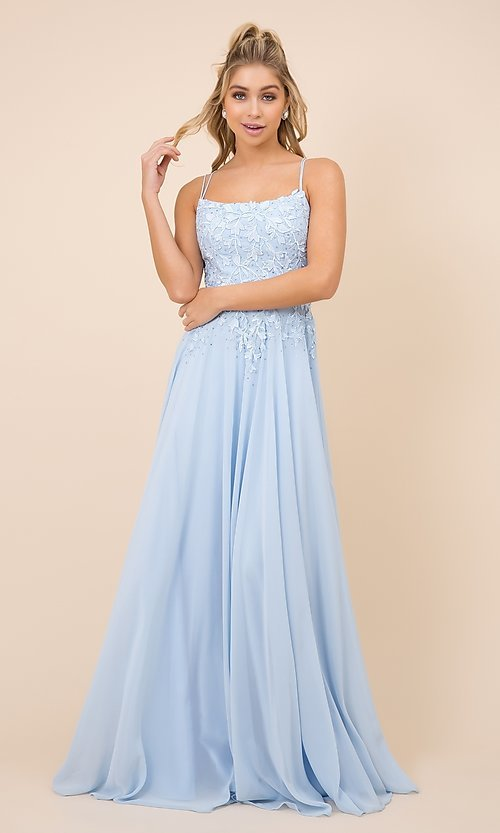 Image of lace-bodice long formal gown with strappy back. Style: NA-21-C414 Front Image
