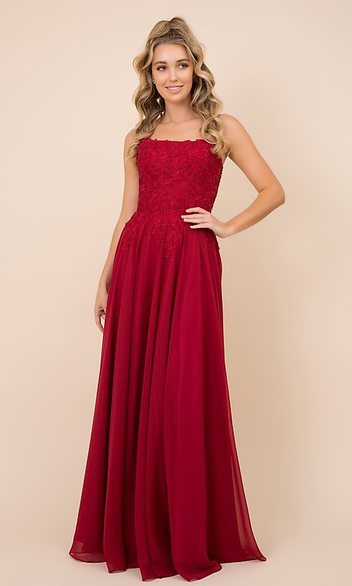Image of lace-bodice long formal gown with strappy back. Style: NA-21-C414 Detail Image 1
