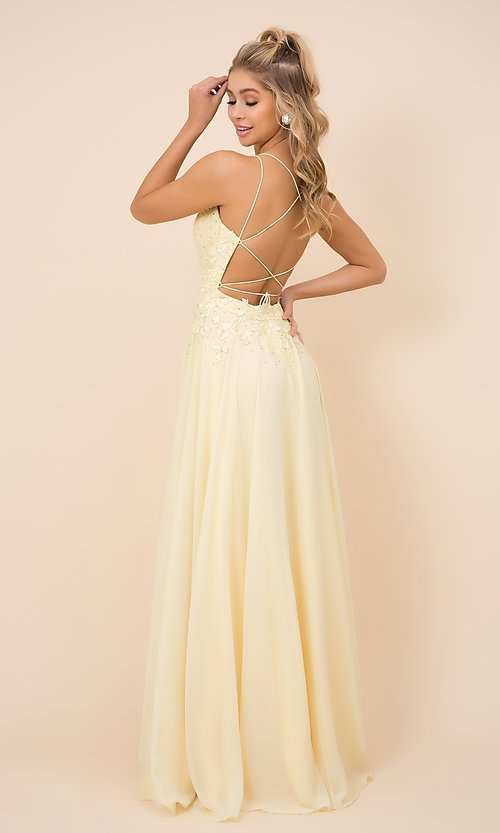 Image of lace-bodice long formal gown with strappy back. Style: NA-21-C414 Back Image
