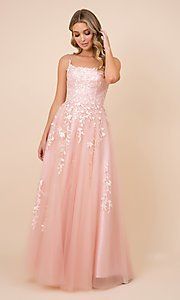 Image of embroidered strappy-back tulle ball gown for prom. Style: NA-21-C415 Front Image
