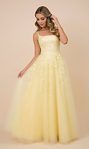 Image of embroidered strappy-back tulle ball gown for prom. Style: NA-21-C415 Detail Image 1