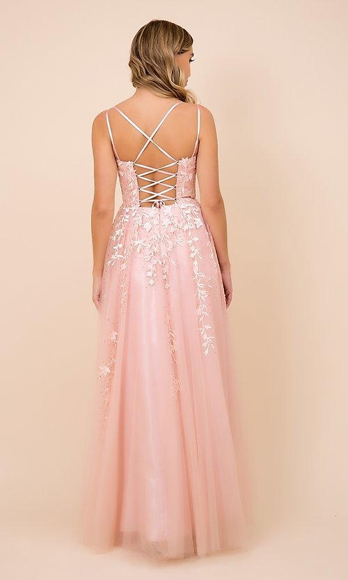 Image of embroidered strappy-back tulle ball gown for prom. Style: NA-21-C415 Back Image