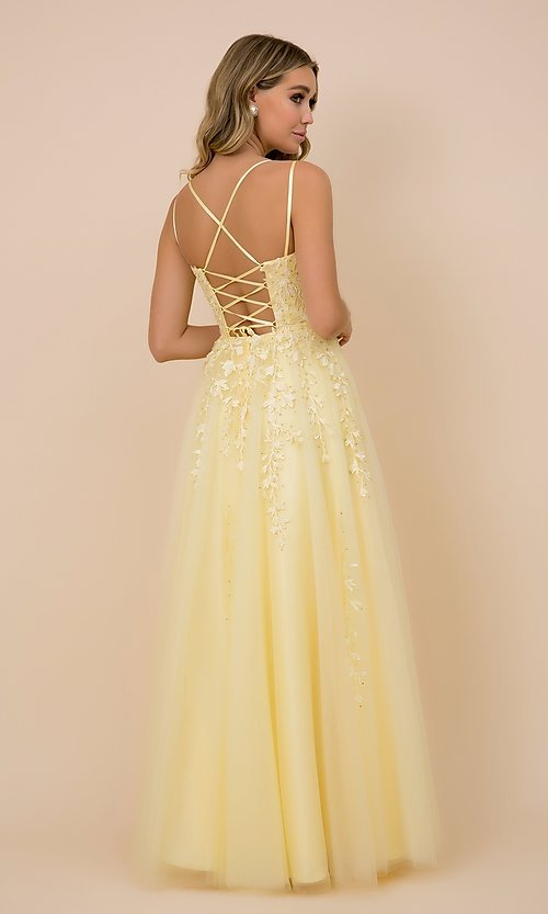 Image of embroidered strappy-back tulle ball gown for prom. Style: NA-21-C415 Detail Image 2