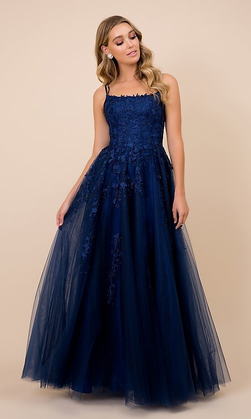 Image of embroidered strappy-back tulle ball gown for prom. Style: NA-21-C415 Detail Image 3