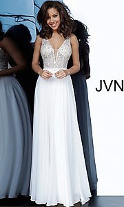 Image of JVN by Jovani sheer-bodice long formal chiffon gown. Style: JO-JVN-21-JVN00944 Front Image