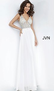 Image of JVN by Jovani sheer-bodice long formal chiffon gown. Style: JO-JVN-21-JVN00944 Detail Image 1