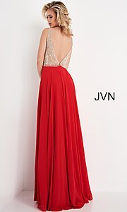 Image of JVN by Jovani sheer-bodice long formal chiffon gown. Style: JO-JVN-21-JVN00944 Detail Image 3