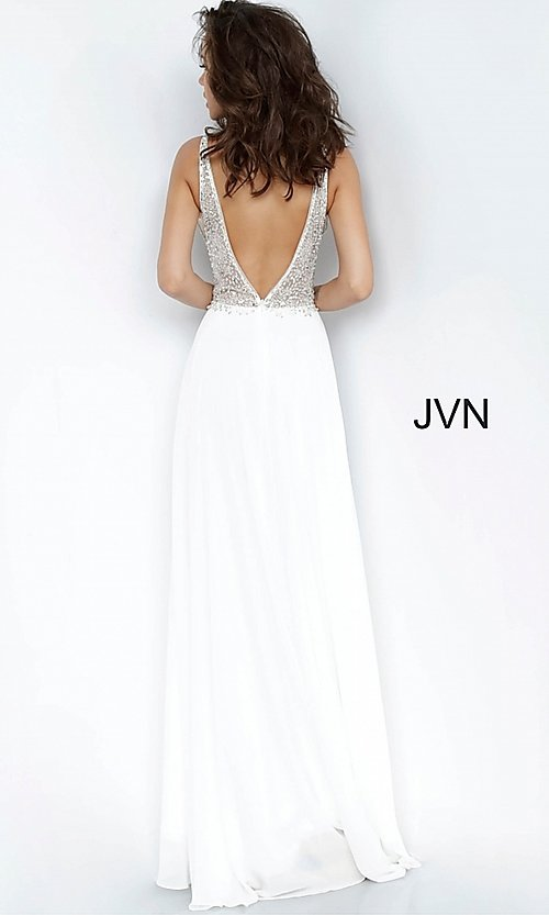 Image of JVN by Jovani sheer-bodice long formal chiffon gown. Style: JO-JVN-21-JVN00944 Back Image