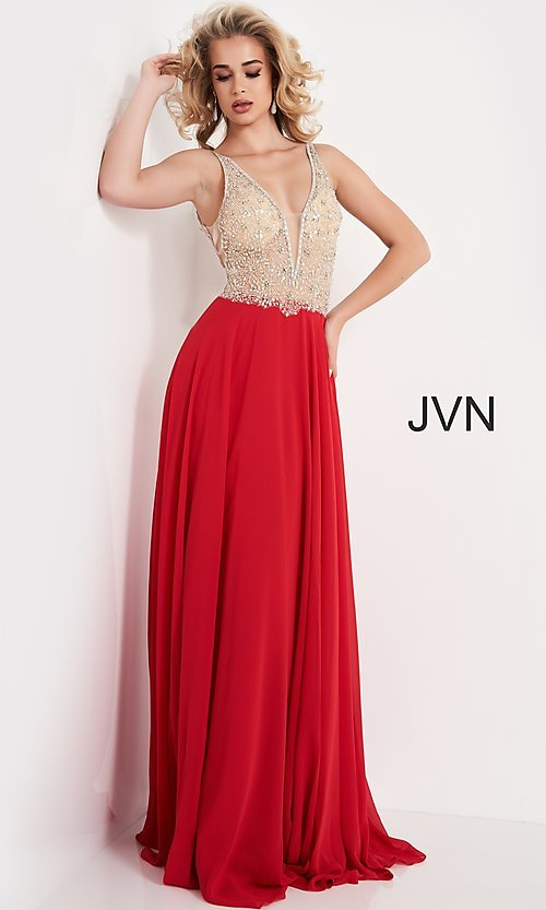 Image of JVN by Jovani sheer-bodice long formal chiffon gown. Style: JO-JVN-21-JVN00944 Detail Image 2