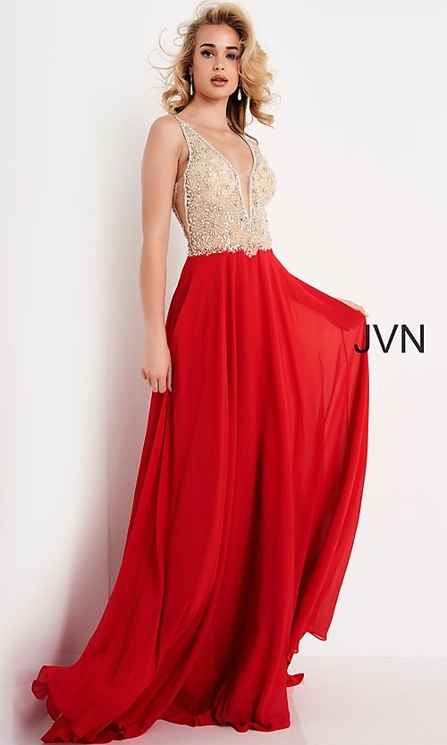 Image of JVN by Jovani sheer-bodice long formal chiffon gown. Style: JO-JVN-21-JVN00944 Detail Image 4